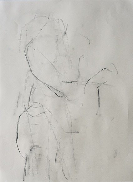 sommerworkshop 2013 bei achim niemann.<br/>figur und raum.<br/>studie 130729_10.<br/>kohle auf zeichenpapier. 2013. 29,7 x 42 cm